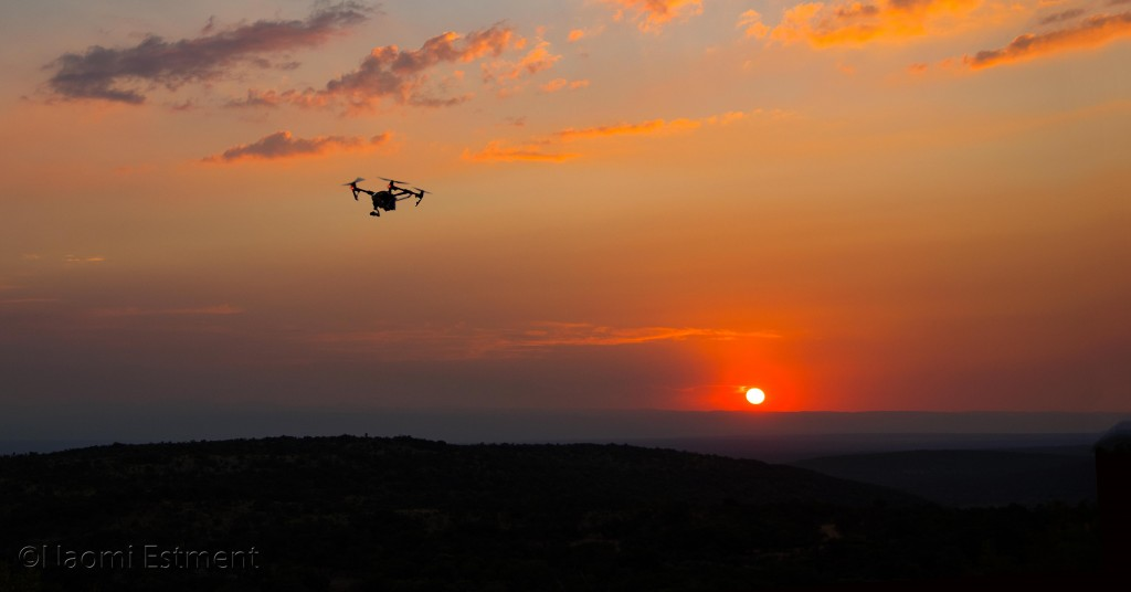 Aerial Drone Flying at Sunset