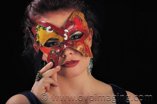 Tarryn Harding modeling with Venetian mask