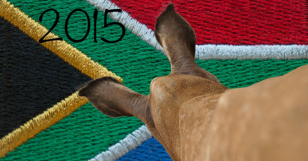 South Africa Flag with Rhino Calf