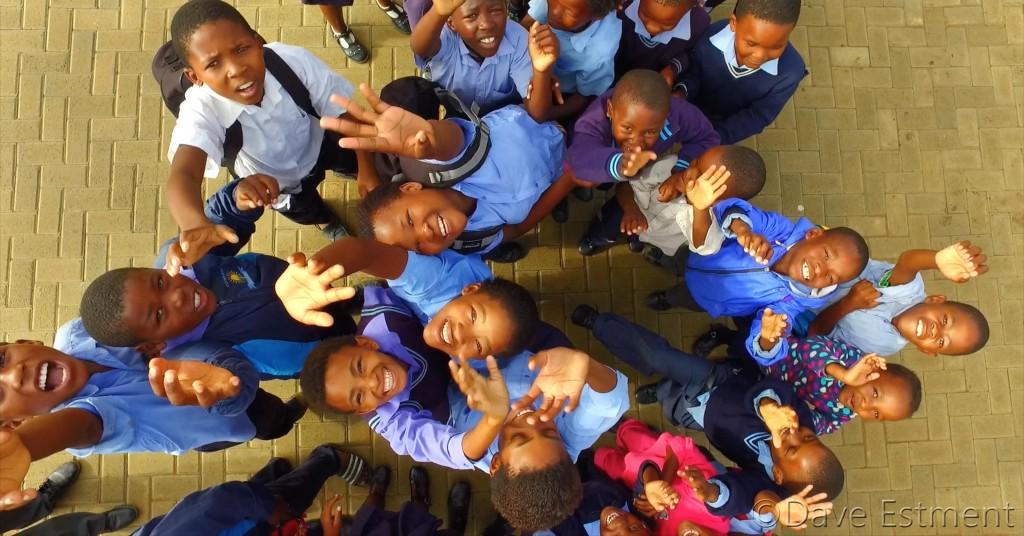 Aerial Photo of School Children