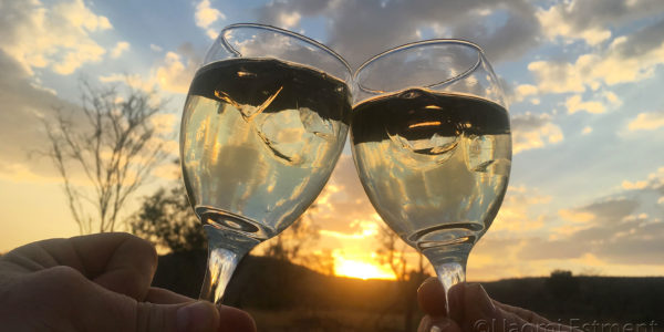 African Sunset with Glasses of Wine