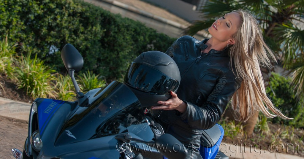 Michelle Chrystal on Yamaha R1 Motorcycle